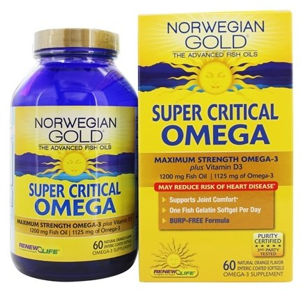 ReNew Life - Norwegian Gold Ultimate Fish Oils Maximum Strength Omega-3 Super Critical Omega Natural Orange Flavor 1200 mg. - 60 Fish Softgel(s)