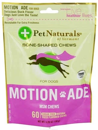 DROPPED: Pet Naturals of Vermont - Motion Ade MSM Chews For Dogs Duck Flavored - 60 Chews