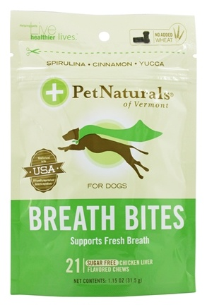 DROPPED: Pet Naturals of Vermont - Breath Bites For Dogs Chicken Liver Flavored - 21 Chews