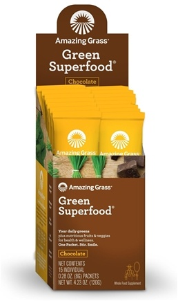 Amazing Grass - Green SuperFood Drink Powder Cacao Chocolate Infusion - 15 Packet(s)