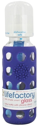 DROPPED: Lifefactory - Glass Baby Bottle With Silicone Sleeve Royal Purple - 9 oz. CLEARANCE PRICED