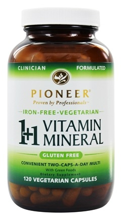 DROPPED: Pioneer - 1+1 Vitamin Mineral Iron-Free - 120 Vegetarian Capsules