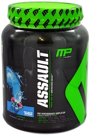 DROPPED: Muscle Pharm - Assault Pre-Performance Amplifier Blue Arctic Raspberry - 1.62 lbs.