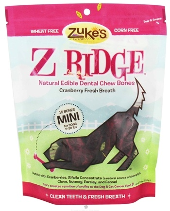 DROPPED: Zuke's - Z-Ridge Dental Chew 15 Mini Bones Cranberry Fresh Breath - 7.75 oz.