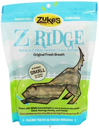DROPPED: Zuke's - Z-Ridge Dental Chew 6 Small Bones Original Fresh Breath - 10.25 oz.