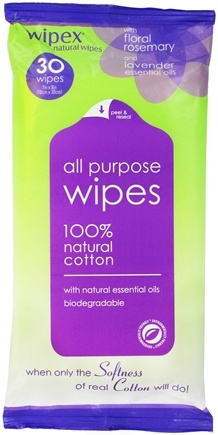 DROPPED: Wipex Natural Wipes - 100% Natural Cotton All Purpose Wipes Floral Rosemary & Lavender 7 in. x 8 in. - 30 Wipe(s) CLEARANCE PRICED