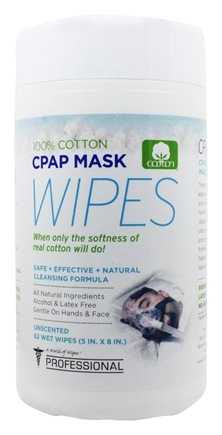 A World of Wipes - Professional CPAP Mask Wipes 100% Pure Cotton 5 in. x 8 in. Unscented - 62 Wipe(s)