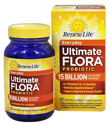 Renew Life - Ultimate Flora Everyday Probiotic For Adults 15 Billion - 60 Capsules