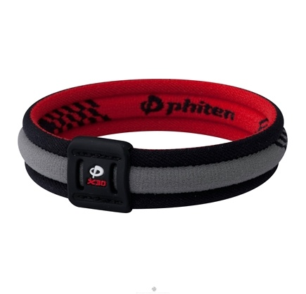DROPPED: Phiten - Titanium Bracelet X30 Edge 7 1/2 inch Black/Red - CLEARANCE PRICED