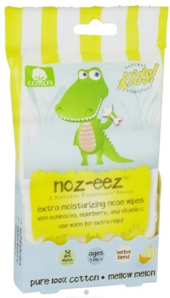 DROPPED: Natural Essentials - Kids Noz-Eez Extra Moisturizing Nose Wipes Mellow Melon - 32 Wipe(s) CLEARANCE PRICED