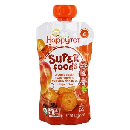 DROPPED: HappyFamily - HappyTot Organic Superfoods Stage 4 Sweet Potato, Apple, Carrot, & Cinnamon - 4.22 oz.