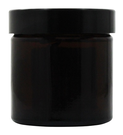 Sanctum Aromatherapy - Amber Glass Cream Jar with Black Screw On Lid Brown - 60 ml.