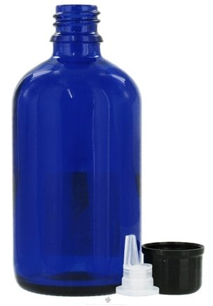 DROPPED: Sanctum Aromatherapy - Cobalt Blue Glass Bottle with Black Dropper Cap - 100 ml. CLEARANCE PRICED