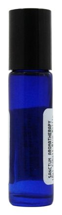 Sanctum Aromatherapy - Cobalt Blue Glass Bottle with Roll On Applicator and Black Cap - 10 ml.