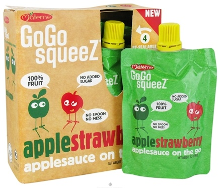DROPPED: Materne - GoGo Squeez AppleSauce On The Go Apple Strawberry - 4 Pack/3.2 oz.