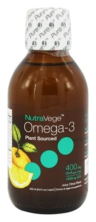 DROPPED: Ascenta Health - NutraVege Omega-3 Liquid Plant Sourced 400mg DHA + 550mg SDA Juicy Citrus Flavor - 6.8 oz. Formerly High Potency DHA, GLA & SDA Vegetarian Supplement Citrus