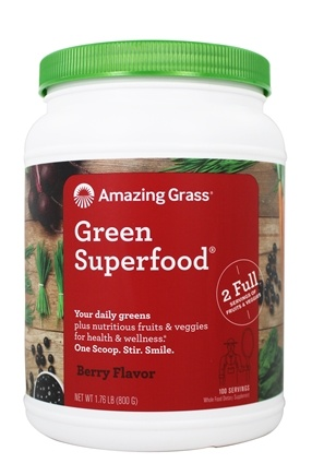 Amazing Grass - Green SuperFood Drink Powder Value Size 100 Servings Berry Flavor - 28 oz.