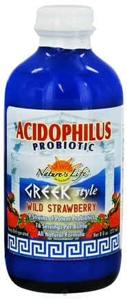 DROPPED: Nature's Life - Acidophilus Probiotic Greek Style Wild Strawberry - 8 oz. CLEARANCE PRICED