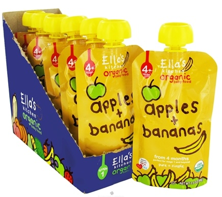 DROPPED: Ella's Kitchen - Organic Baby Food Stage 1 For 4 Months & Older Apples And Bananas - 3.5 oz.