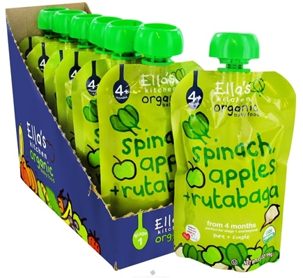 DROPPED: Ella's Kitchen - Organic Baby Food Stage 1 For 4 Months & Older Spinach, Apples And Rutabaga - 3.5 oz. CLEARANCE PRICED