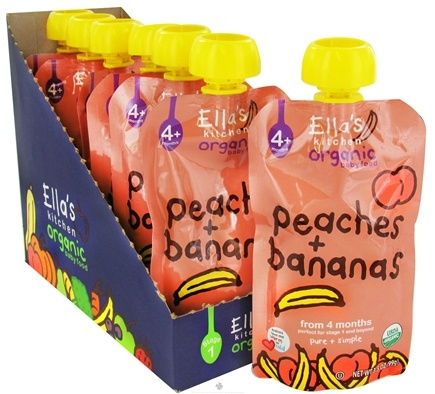 DROPPED: Ella's Kitchen - Organic Baby Food Stage 1 For 4 Months & Older Peaches And Bananas - 3.5 oz. CLEARANCE PRICED