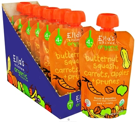 DROPPED: Ella's Kitchen - Organic Baby Food Stage 1 For 4 Months & Older Butternut Squash, Carrots, Apples And Prunes - 3.5 oz. CLEARANCE PRICED