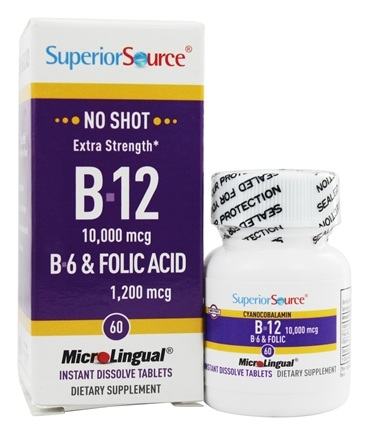 Superior Source - No Shot B12 Cyanocobalamin Instant Dissolve Micro-Tablets 10000 mcg. - 60 Tablets