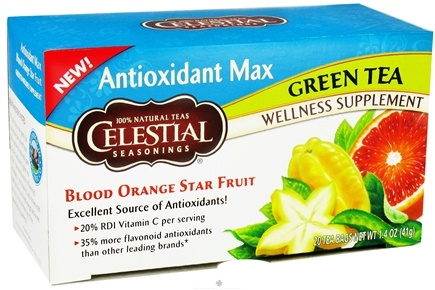 DROPPED: Celestial Seasonings - Antioxidant Max Green Tea Blood Orange Star Fruit - 20 Tea Bags CLEARANCE PRICED