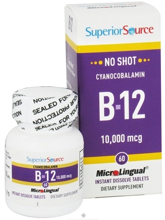 DROPPED: Superior Source - No Shot B12 Cyanocobalamin Instant Dissolve 10000 mcg. - 60 Tablets