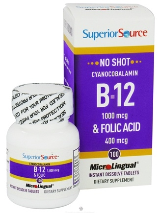 DROPPED: Superior Source - No Shot B12 Cyanocobalamin Instant Dissolve 1000 mcg. - 100 Tablets CLEARANCE PRICED