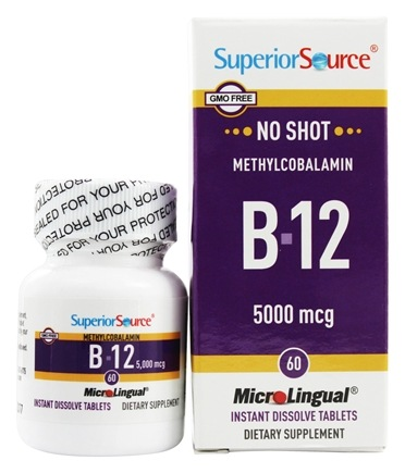 Superior Source - No Shot B12 Methylcobalamin Instant Dissolve 5000 mcg. - 60 Tablets
