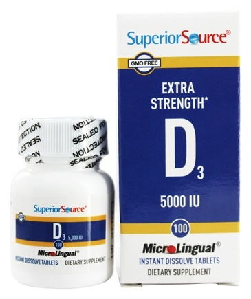 Superior Source - Vitamin D3 Extra Strength Instant Dissolve 5000 IU - 100 Tablets