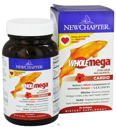 DROPPED: New Chapter - Wholemega Cardio Extra-Virgin Wild Salmon Oil - 60 Softgels