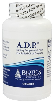 biotics research adp with emulsified oil of oregano 120 tablets