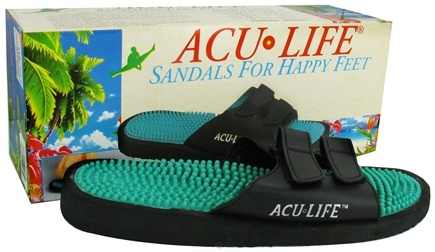 DROPPED: Acu-Life - Massage Sandals With Velcro M4/W5 Black/Teal - 1 Pair CLEARANCE PRICED