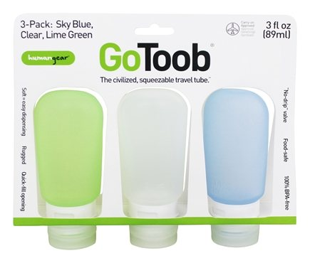 DROPPED: Humangear - GoToob Squeezable Travel Tube 3-Pack Lime Green, Clear, Sky Blue - 3 oz.