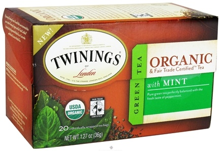 DROPPED: Twinings of London - Organic Green Tea with Mint - 20 Tea Bags CLEARANCE PRICED
