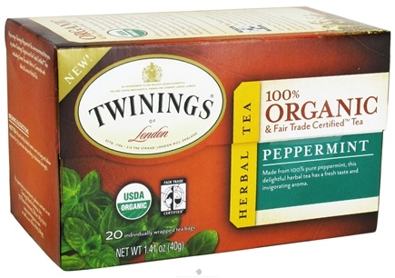 DROPPED: Twinings of London - Organic Peppermint Tea - 20 Tea Bags CLEARANCE PRICED
