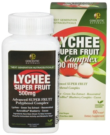 DROPPED: Genceutic Naturals - Lychee Super Fruit Complex 500 mg. - 60 Vegetarian Capsules