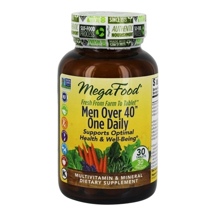 DROPPED: MegaFood - DailyFoods Men Over 40 One Daily Iron Free - 30 Vegetarian Tablets CLEARANCE PRICED