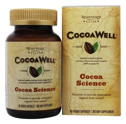 ReserveAge Organics - CocoaWell Maximum Potency Organic Cocoa with Pure Plant Flavanols - 60 Vegetarian Capsules