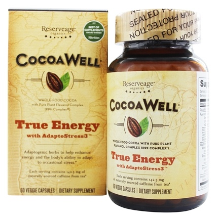 CocoaWell True Energy with AdaptoStress3 Ashwagandha, Rhodiola, Schisandra  - 60 Vegetarian Capsules Contains 3 Root Tea Ingredients by Reserveage