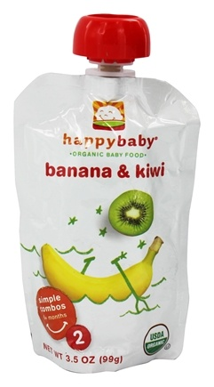 DROPPED: HappyFamily - Organic Baby Food Stage 2 Meals Ages 6+ Months Banana & Kiwi - 3.5 oz. CLEARANCE PRICED