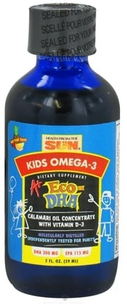 DROPPED: Health From The Sun - Kids Omega-3 A+ Eco DHA Calamari Oil Concentrate with Vitamin D3 Tutti Frutti Flavor - 2 oz.