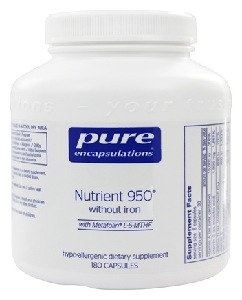 Pure Encapsulations - Nutrient 950 with Metafolin L-5-MTHF without Iron - 180 Vegetarian Capsules