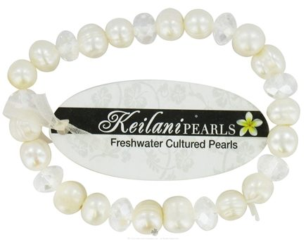 DROPPED: Zorbitz - Keilani Pearls Bracelet Good Luck White with White Crystals - CLEARANCE PRICED
