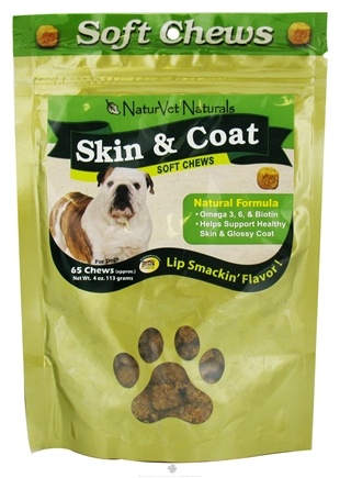 DROPPED: NaturVet - Skin & Coat Soft Chews - 65 Chews CLEARANCE PRICED