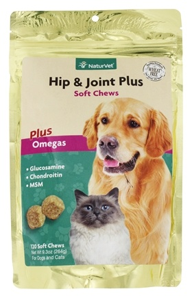 DROPPED: NaturVet - Hip & Joint Plus Soft Chews For Cats & Dogs - 120 Chews CLEARANCE PRICED