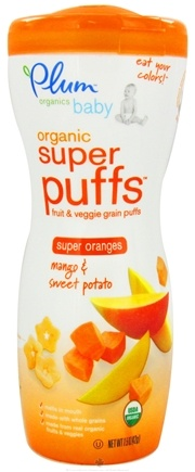 DROPPED: Plum Organics - Baby Organic Super Puffs Super Oranges Mango & Sweet Potato - 1.5 oz.