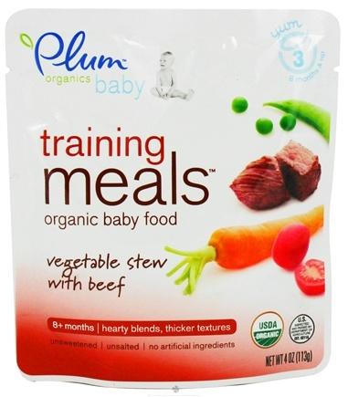 DROPPED: Plum Organics - Organic Baby Food Training Meals 8+ Months Vegetable Stew with Beef - 4 oz.